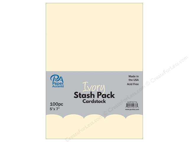 Paper Accents Stash Pack Cardstock 5 in. x 7 in.  Ivory 100 pc