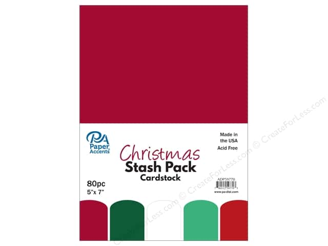 Paper Accents Stash Pack Cardstock 5 in. x 7 in.  Christmas 80 pc