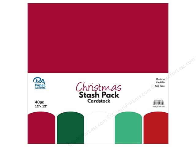 Paper Accents Stash Pack Cardstock 12 in. x 12 in. Christmas 40 pc