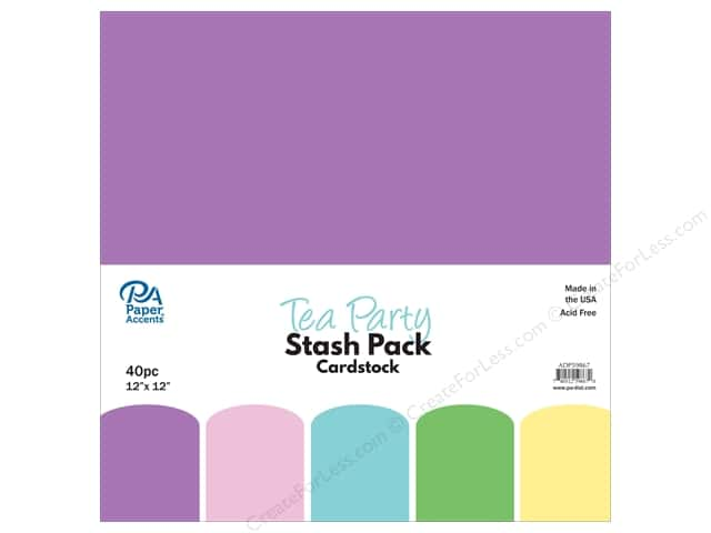 Paper Accents Stash Pack Cardstock 12 in. x 12 in. Tea Party 40 pc