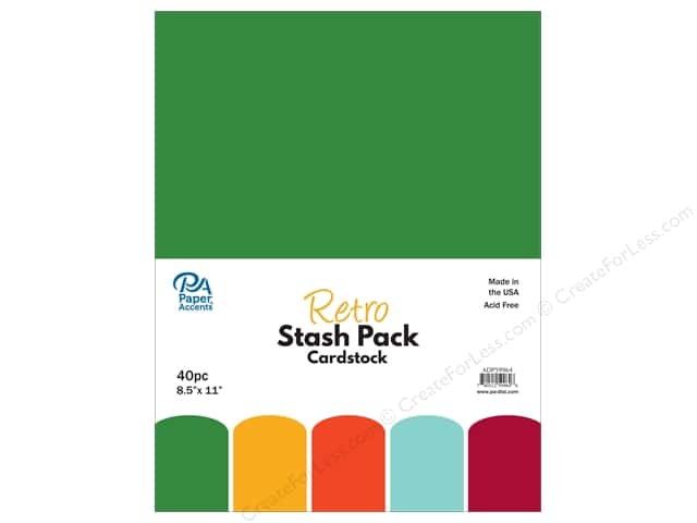 "Paper Accents Stash Pack Cardstock 8.5""x 11"" Retro 40pc"