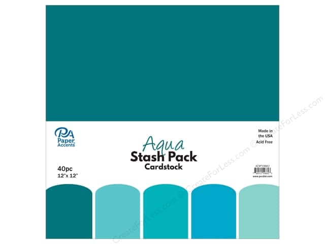Paper Accents Stash Pack Cardstock 12 in. x 12 in.  Aqua 40 pc