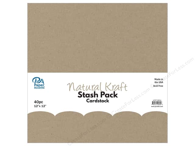 Paper Accents Cardstock Stash Pack 12 x 12 in. Natural Kraft 40 pc.