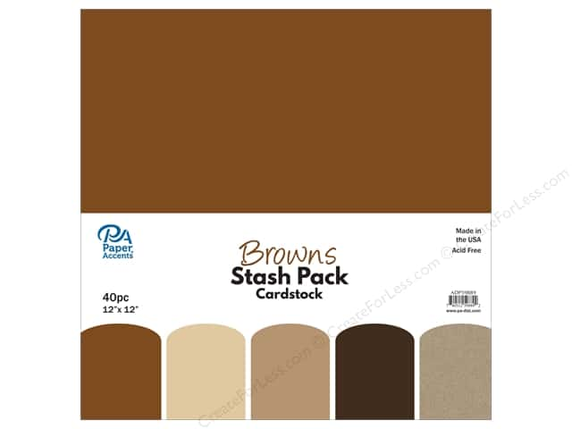 Paper Accents Stash Pack Cardstock 12 in. x 12 in.  Browns 40 pc