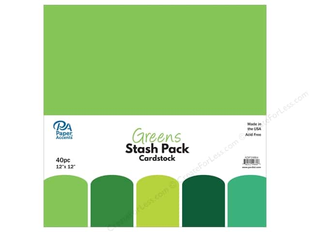 Paper Accents Cardstock Stash Pack 12 x 12 in. Greens 40 pc.