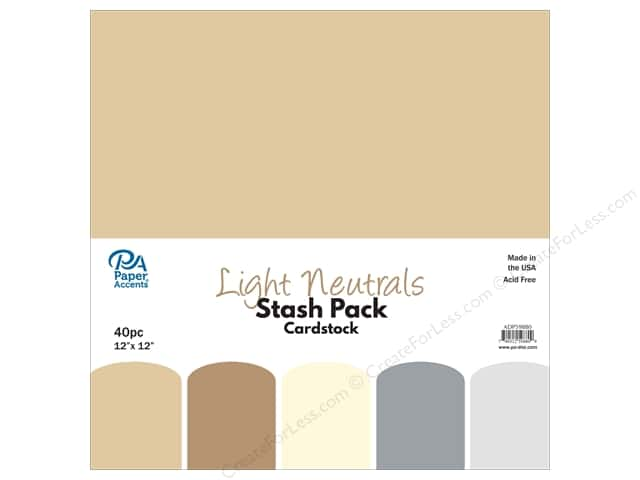 Paper Accents Stash Pack Cardstock 12 in. x 12 in. Light Neutrals 40 pc