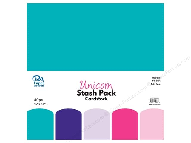 Paper Accents Stash Pack Cardstock 12 in.x 12 in.Unicorn 40 pc