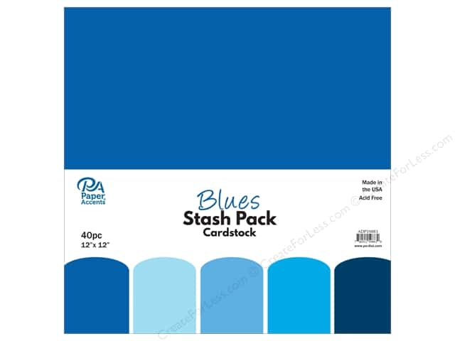 Paper Accents Stash Pack Cardstock 12 in. x 12 in. Blues 40 pc