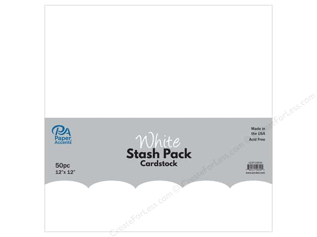 Paper Accents Stash Pack Cardstock 12 in. x 12 in. White 50 pc