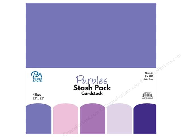 Paper Accents Stash Pack Cardstock 12 in. x 12 in. Purples 40 pc
