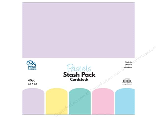 Paper Accents Stash Pack Cardstock 12 in.x 12 in. Pastels 40 pc