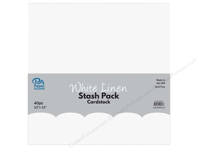 Paper Accents Stash Pack Cardstock 12 in. x 12 in. White Linen 40 pc