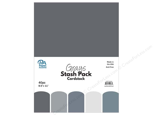 Paper Accents Stash Pack Cardstock 8.5 in. x 11 in. Grays 40 pc
