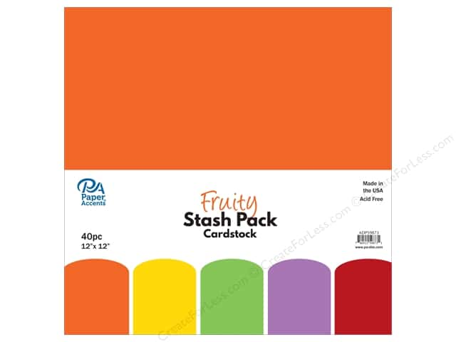 Paper Accents Stash Pack Cardstock 12 in. x 12 in. Fruity 40 pc