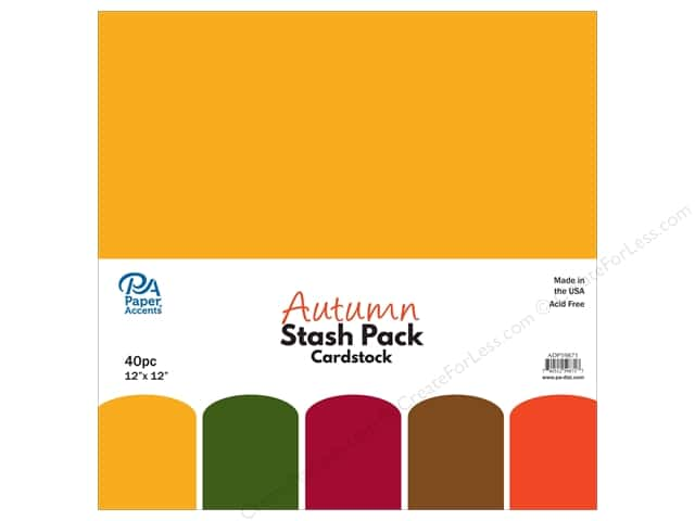 Paper Accents Stash Pack Cardstock 12 in. x 12 in. Autumn 40 pc