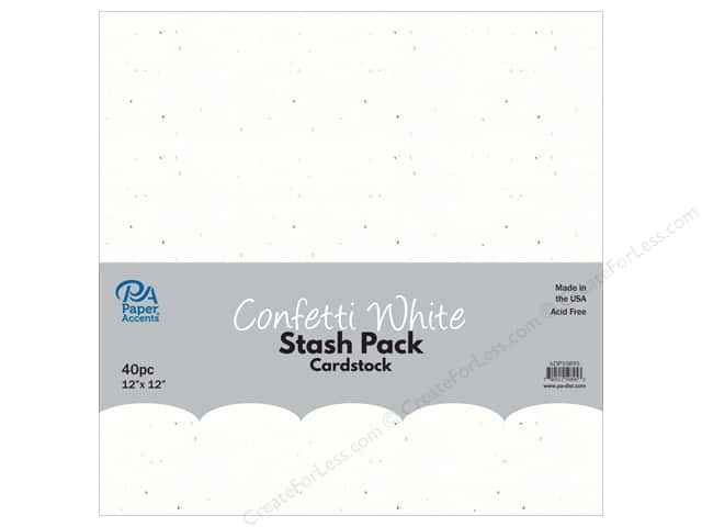 Paper Accents Stash Pack Cardstock 12 in. x 12 in. Confetti White 40 pc
