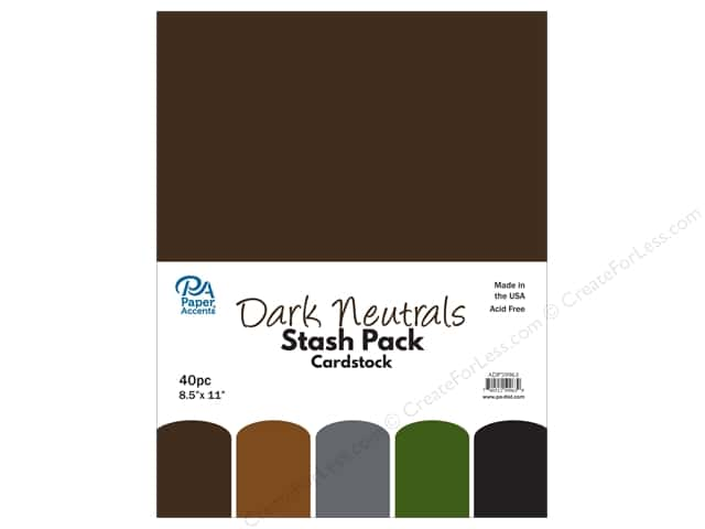 Paper Accents Stash Pack Cardstock 8.5 in. x 11 in. Dark Neutrals 40 pc