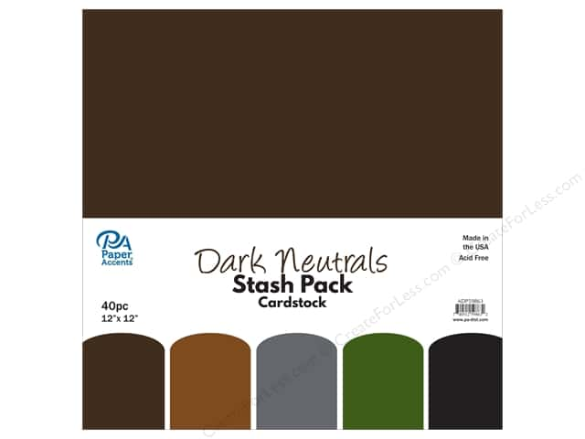 Paper Accents Cardstock Stash Pack 12 x 12 in. Dark Neutrals 40 pc.