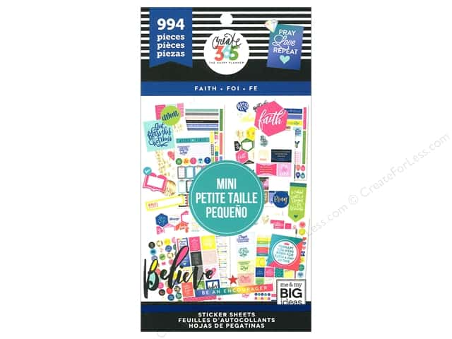 Me&My Big Ideas Collection Create 365 Happy Planner Sticker Value Pack Mini Faith