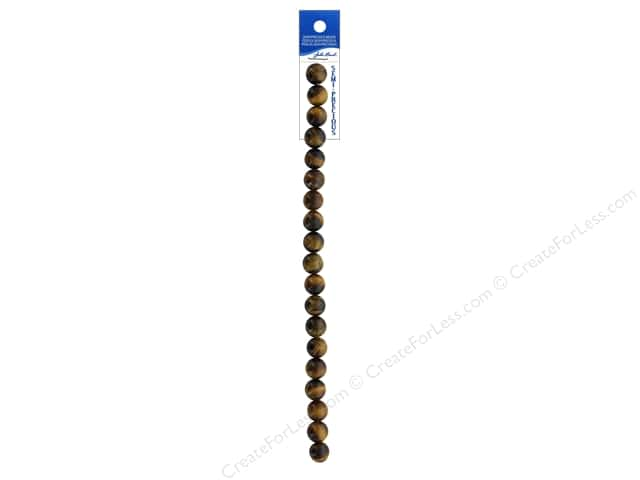 John Bead Semi Precious 7 in. Tiger Eye Natural 10 mm Round Dyed Brown