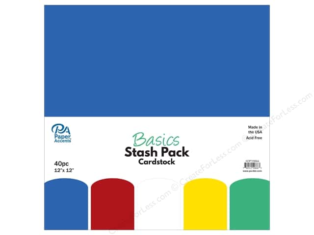 Paper Accents Cardstock Stash Pack 12 x 12 in. Basics 40 pc.