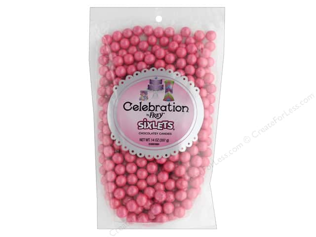 SweetWorks Celebration Sixlets 14 oz Stand Up Bag Shimmer Hot Pink