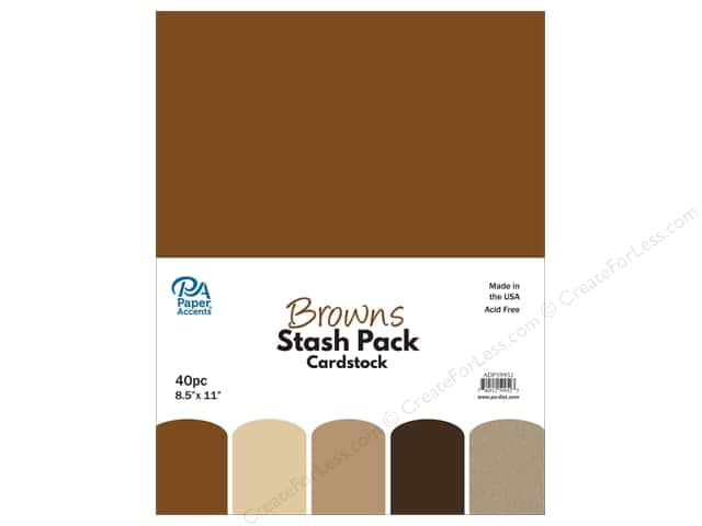 Paper Accents Stash Pack Cardstock 8.5 in. x 11 in.  Browns 40 pc