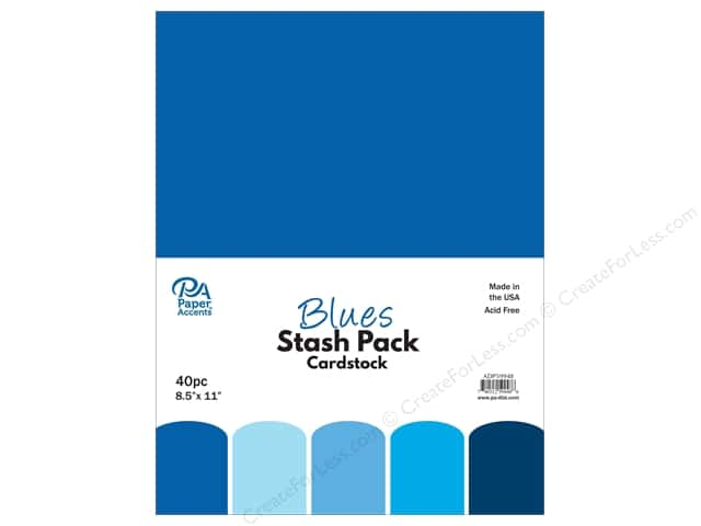 Paper Accents Cardstock Stash Pack 8 1/2 x 11 in. Blues 40 pc.