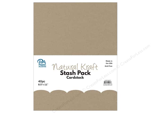 Paper Accents Stash Pack Cardstock 8.5 in. x 11 in. Natural Kraft 40 pc