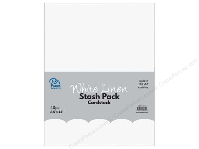 Paper Accents Stash Pack Cardstock 8.5 in. x 11 in. White Linen 40 pc