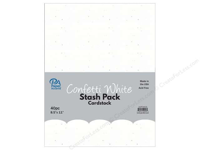 Paper Accents Stash Pack Cardstock 8.5 in. x 11 in. Confetti White 40 pc