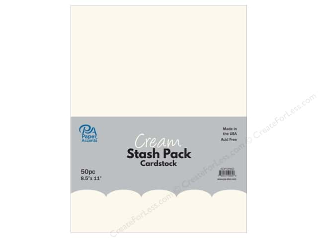 Paper Accents Stash Pack Cardstock 8.5 in. x 11 in. Cream 50 pc
