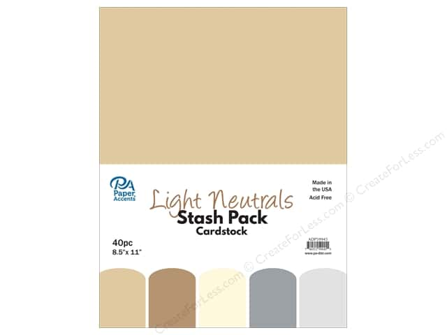 Paper Accents Stash Pack Cardstock 8.5 in. x 11 in. Light Neutrals 40 pc