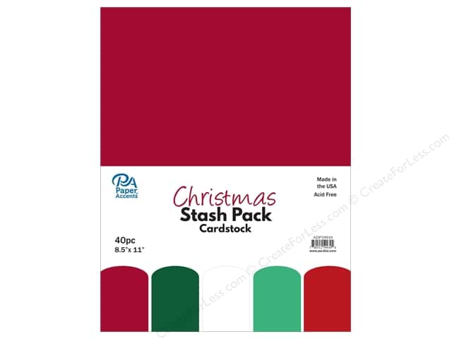 Paper Accents Stash Pack Cardstock 8.5 in. x 11 in. Christmas 40 pc