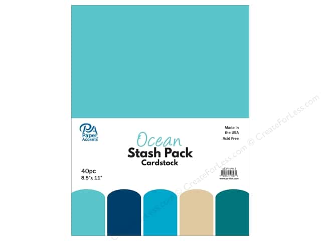 Paper Accents Stash Pack Cardstock 8.5 in. x 11 in. Ocean 40 pc