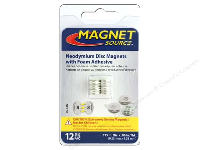 The Magnet Source Super Neodymium Magnet Discs with Adhesive 3/8 in. 12 pc.