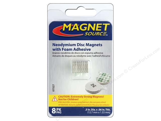 The Magnet Source Super Neodymium Magnet Discs with Adhesive 1/2 in. 8 pc.