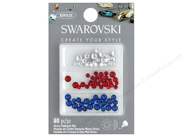Cousin Swarovski Flatback Mix Patriot B 80pc