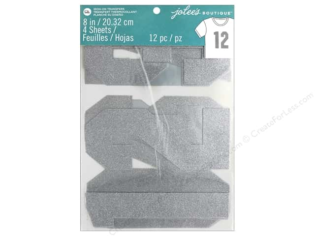 EK Jolee's Boutique Iron On Transfer 8 in. Number Glitter Silver