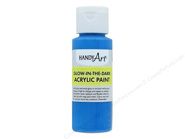 Handy Art Acrylic Paint Glow In The Dark 2 oz Blue