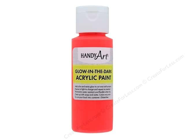 Handy Art Acrylic Paint Glow In The Dark 2 oz Red