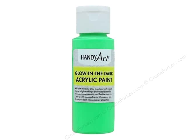Handy Art Acrylic Paint Glow In The Dark 2 oz Green