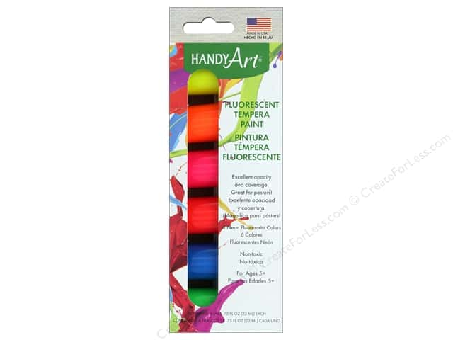 Handy Art Tempra Paint Jar Set 6 pc. Fluorescent