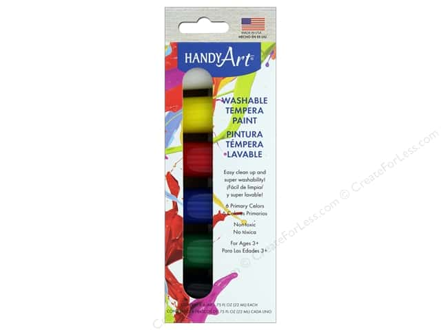 Handy Art Washable Tempra Paint Jar Set 6 pc. Primary
