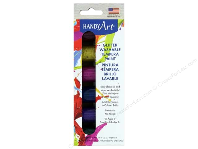 Handy Art Tempra Paint Jar .75 oz Glitter 6 pc