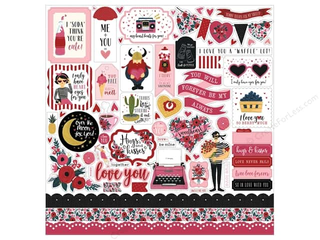 Carta Bella Collection Hello Sweetheart Sticker 12 in. x 12 in. (15 pieces)