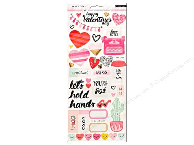 Crate Paper Heart Day Sticker 6 in. x 12 in. Gold Foil