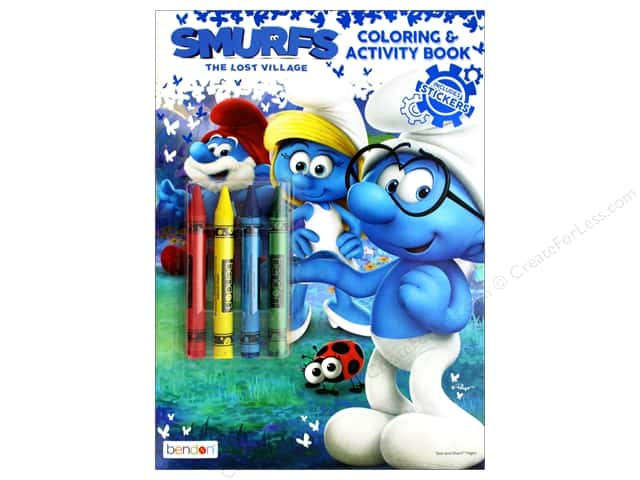 Bendon Coloring & Activity Book With Crayons Smurfs