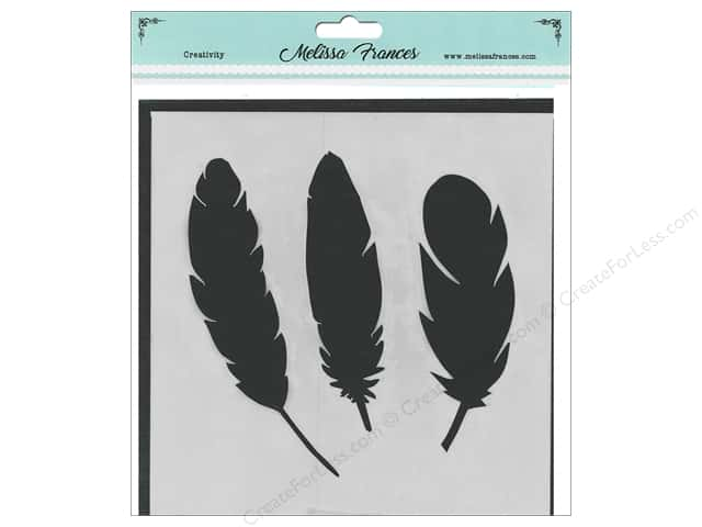 Melissa Frances Stencil  6 in. x 6 in. 3 Feathers