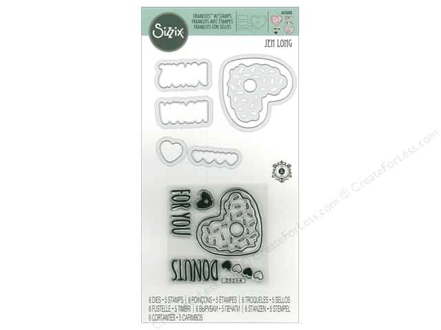 Sizzix Die & Stamp Jen Long Framelits Donuts For You